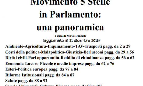 Cosa fa il MoVimento 5 Stelle?Tutte le proposte in Parlamento del M5S (fino al 31 dicembre 2013)
