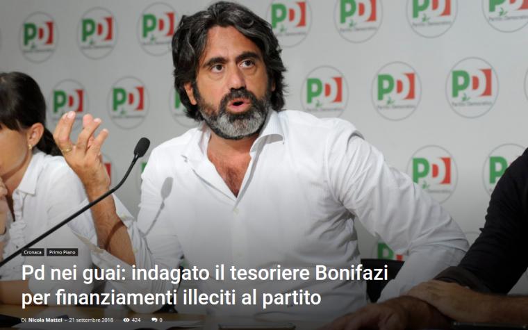 Pd nei guai: indagato il tesoriere Bonifazi per finanziamenti illeciti al partito